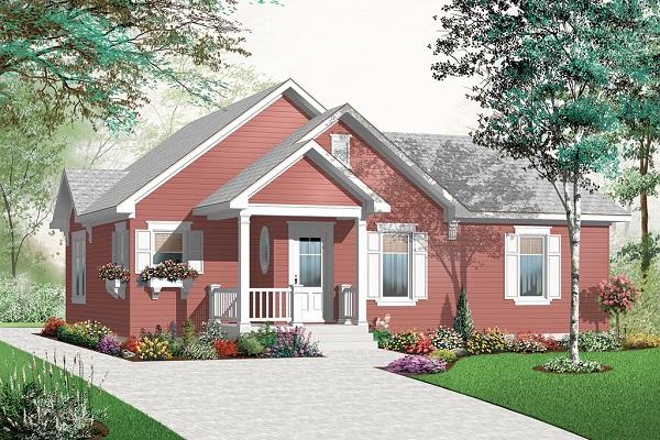 Plano de casa de una planta, tres dormitorios y 108 metros cuadrados