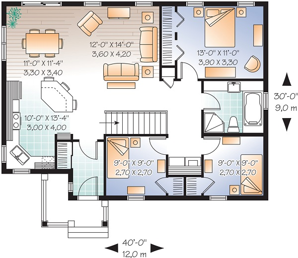 Plano de casa de una planta tres dormitorios y 108 metros for Casa de 2 plantas y 3 habitaciones