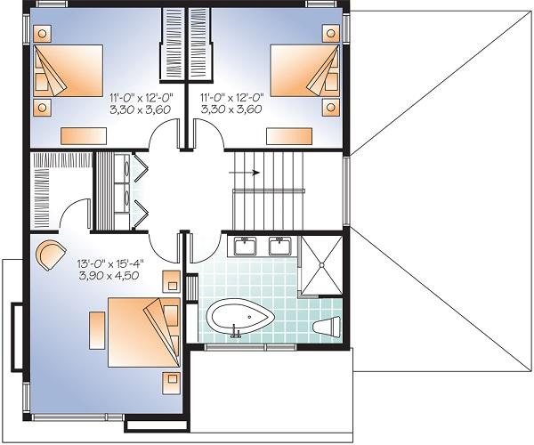 Moderna casa de dos pisos tres habitaciones y 172 metros for Planos casa dos plantas modernas
