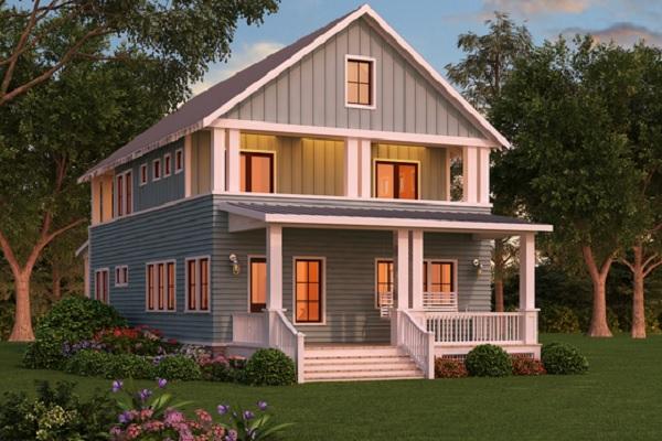 Plano de interesante casa grande de dos pisos y tres dormitorios