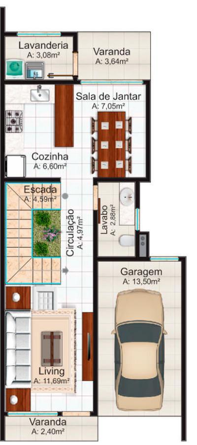 Plano de duplex para terreno angosto de tres dormitorios y 136 metros ...