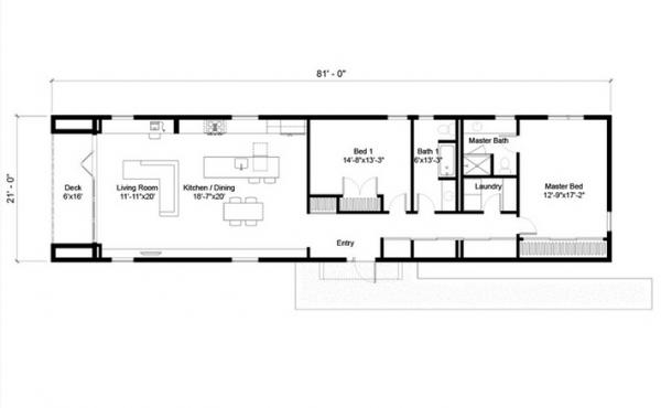 Plano de casa moderna de una planta dos dormitorios y 146 for Dormitorio 12 metros cuadrados