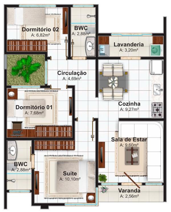 Plano de casa moderna economica de 3 dormitorios y 70 for Plano casa moderna 3 habitaciones
