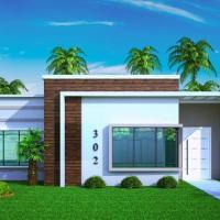 Plano de casa pequeña y moderna de tres dormitorios y 67 metros cuadrados
