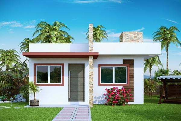 Plano de casas economica de dos dormitorios y 53 metros cuadrados