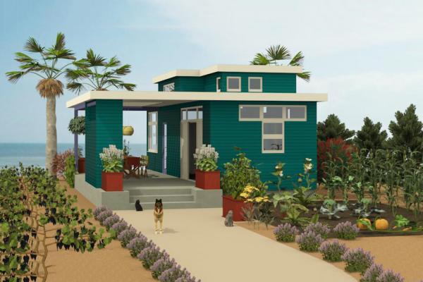 Plano de casa de playa moderna de dos plantas, dos dormitorios y 54 metros cuadrados