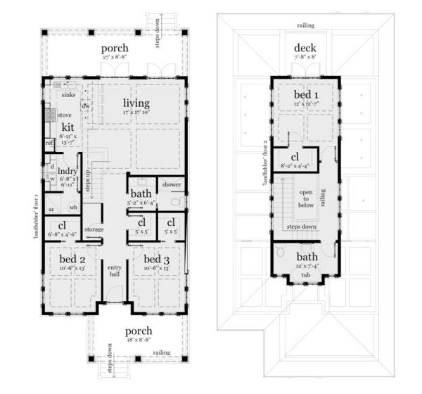 Plano de casa de madera de dos plantas tres dormitorios y for Planos de casas de dos dormitorios