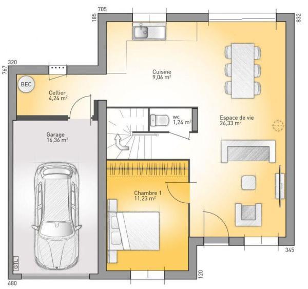 Plano de casa francesa de 4 dormitorios y 130 metros cuadrados en dos plantas planos de casas - Casas planta baja ...