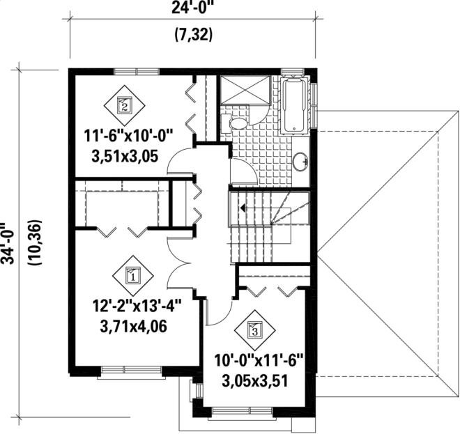 Plano planta alta casa moderna de tres dormitorios