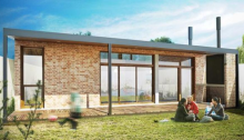 Plano de casa bicentenaria de tres dormitorios y 82 metros cuadrados