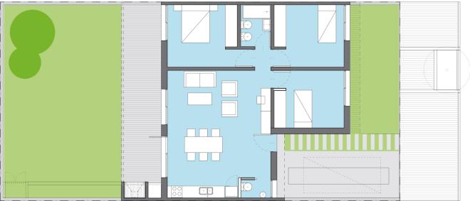 plano casa bicentenaria de tres dormitorios