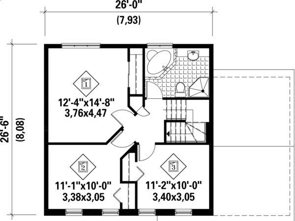 Plano planta alta casa clasica de dos plantas, 3 dormitorios y 127 metros cuadrados