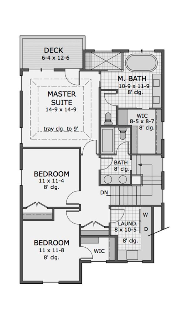 Plano de casa americana de dos plantas tres dormitorios for Planos de casas de tres dormitorios en una planta