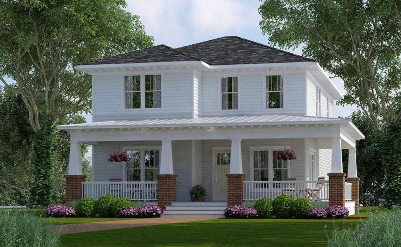 Plano de comoda casa de dos pisos, cuatro dormitorios y 245 metros cuadrados