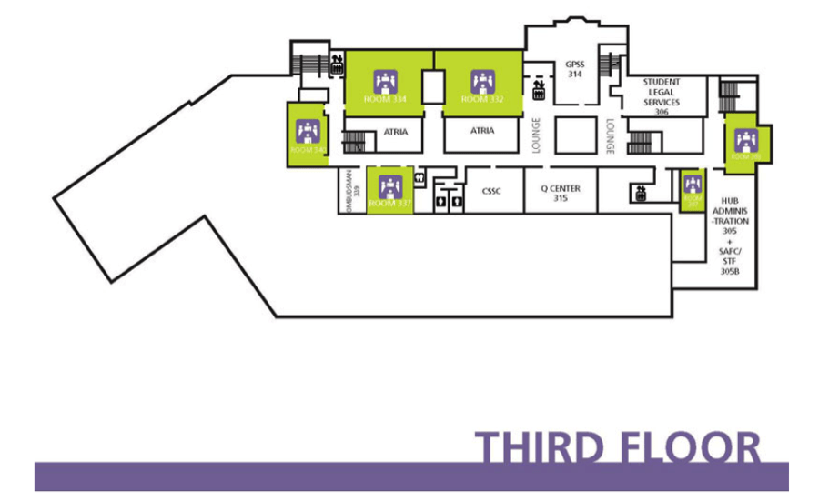 map of the third floor of the hub