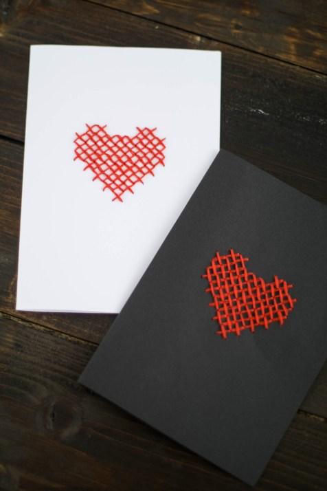 DIY Karte Sticken Valentstag Herz-7