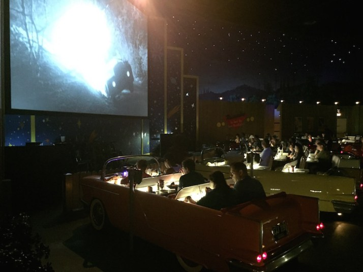 "Dining under the ""stars"" at the Sci-Fi Dine-In Theater"