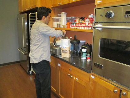 Bobby measuring flour