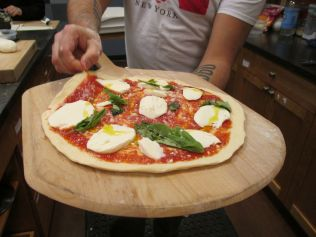 Pizza Margherita before baking