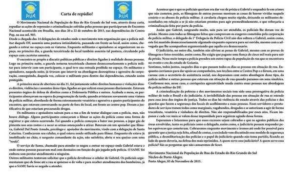 Assine a carta de repúdio à violência promovida pelo Estado no 3º Encontro Nacional da População em Situação de Rua