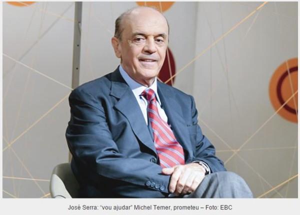 "Serra diz que quer ""ajudar"" Michel Temer a governar"