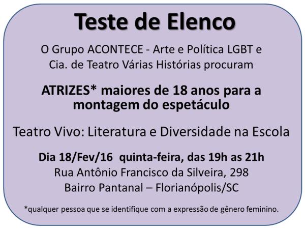 Teste de Elenco para Teatro Vivo: Literatura e Diversidade na Escola