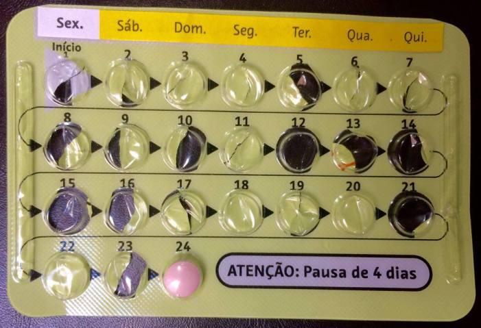 Última cartela. Último comprimido do anticoncepcional.