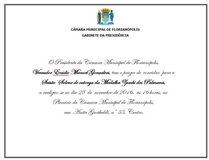 Convite: Medalha Zumbi de Palmares