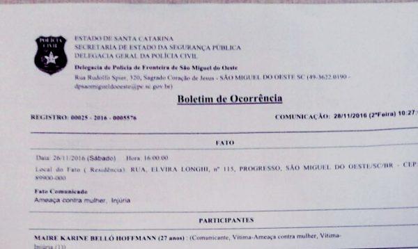 Militante registra Boletim de Ocorrência contra Raul Gransotto, em São Miguel do Oeste/SC