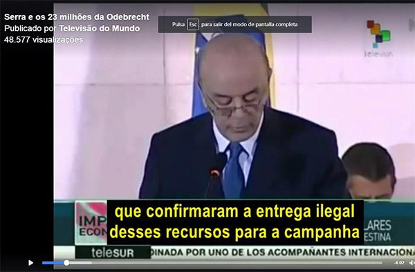 Canal de TV internacional mostra a verdade sobre José Serra que a grande mídia nacional esconde