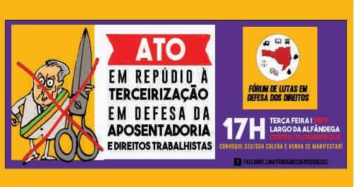 Ato unificado contra terceirização e retiradas de direitos