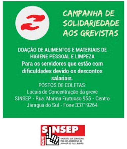 Sinsep lança campanha de solidariedade aos servidores em greve