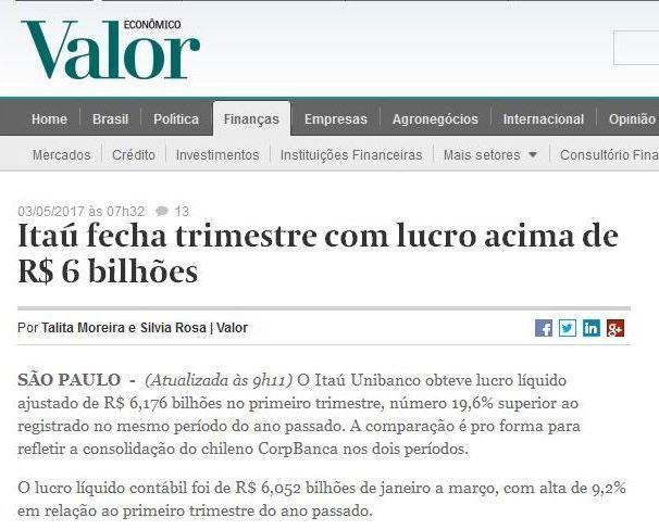 Crise? Que crise?! Itaú fecha trimestre lucrando por mês o lucro de toda a Organizações Globo em um ano
