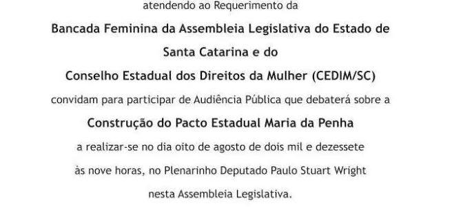 Audiência Pública: Construção do Pacto Estadual Maria da Penha