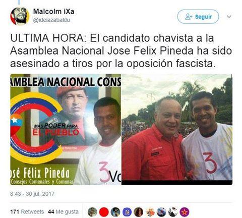 Candidato chavista à Assembleia Nacional é assassinado a tiros pela direita