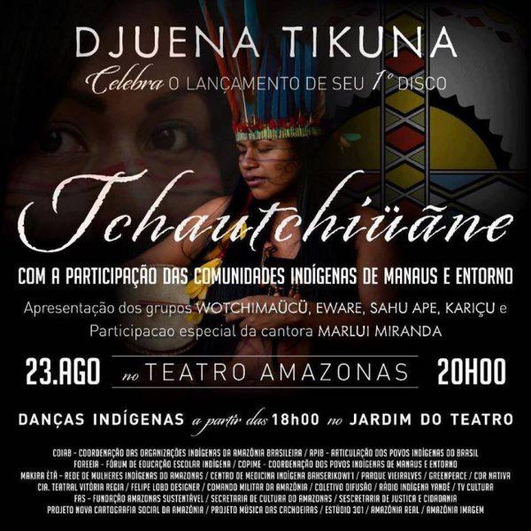Djuena Tikuna celebra o lançamento de seu primeiro disco
