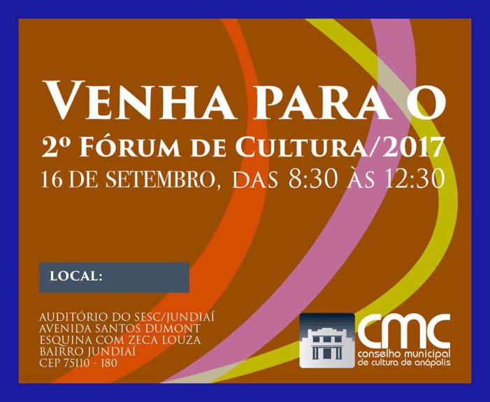 Segundo fórum de cultura será aberto para toda população