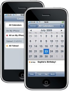 yahoo iphone calendar1 Synchronisation sans fil dYahoo Agenda avec un iPhone