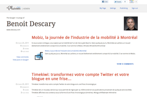 plusses Plusses transforme automatiquement Google+ en un blogue