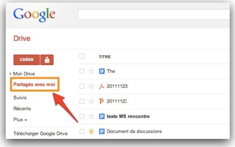 google drive documents partages avec moi 1 Google Drive: comment synchroniser les documents partags