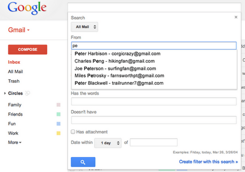 gmail saisie semi automatique avancee Gmail amliore son outil de recherche et intgre des fonctionnalits du Labos