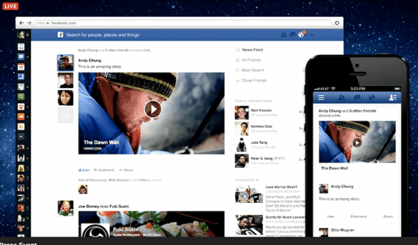 facebook new design descary Facebook fait plus de place aux contenus visuels et adopte une interface similaire sur toutes les plateformes