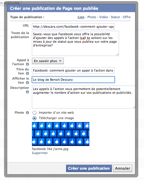 facebook like j'aime appel action call to action