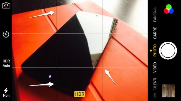 iphone activez la Utilisez la grille de composition photo