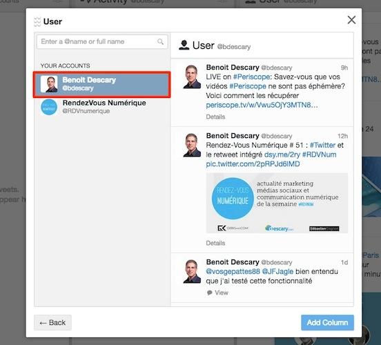 configurez votre colonne user sur tweetdeck