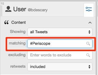 filtrez vos tweets pour obtenir uniquement periscope