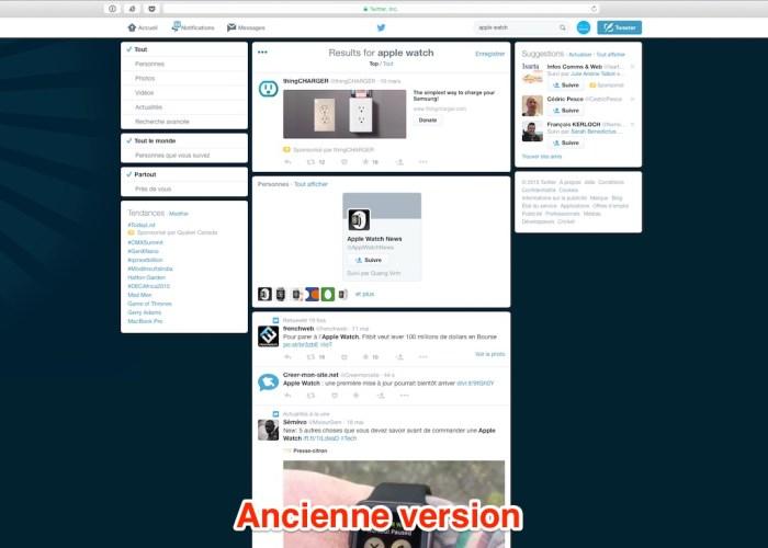 ancienne version Twitter nouvelle version du moteur de recherche