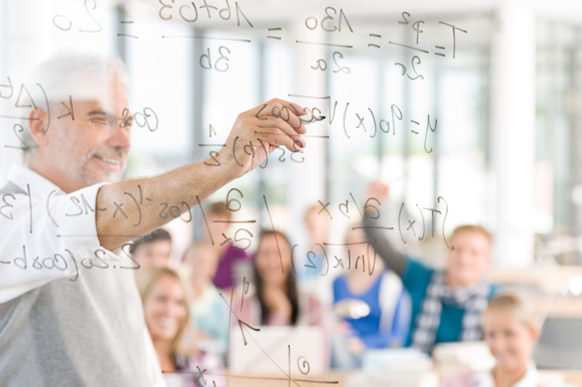 Math lesson at high school - students with professor