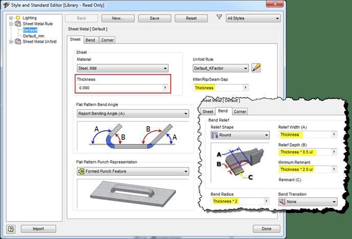 Autodesk Inventor Sheet Metal Rules