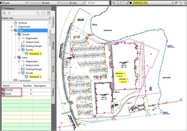 Autodesk Civil 3D Parcel Segments Site